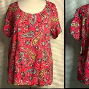 RAFAELLA Scoop Neck Paisley Print SS Cotton Top